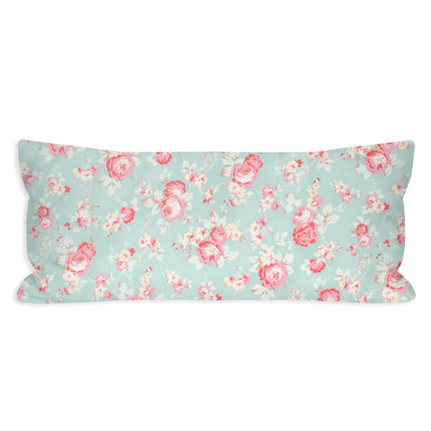 Light Cyan Shabby Floral Lumbar Pillow