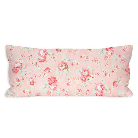 Light Pink Shappy Floral Lumbar Pillow