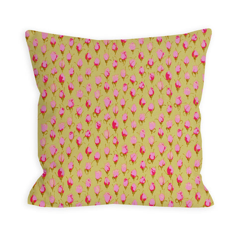 Pea Green and Hot Pink Tulips Pillow