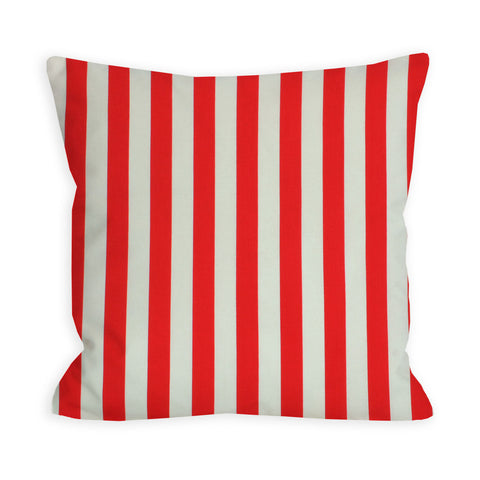Red and Ivory Striped Red Pillow
