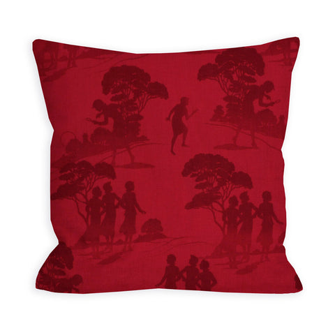 Red Country Hillside Scenic Pillow
