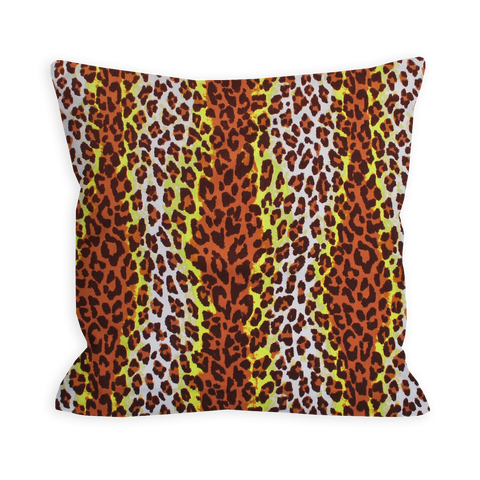 Wild Leopard Citron and Sienna Brown Pillow
