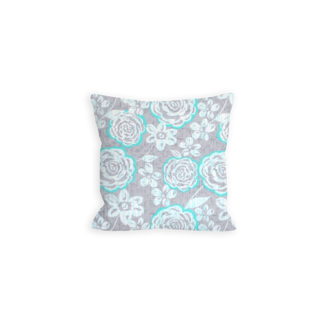 Light Turquoise and Grey Pillow, Captivated By You Modern Floral - LIL