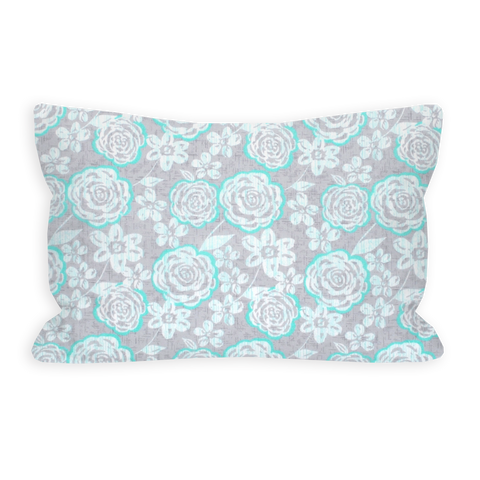 Captivated By You Modern Aqua Floral Toddler Pillow