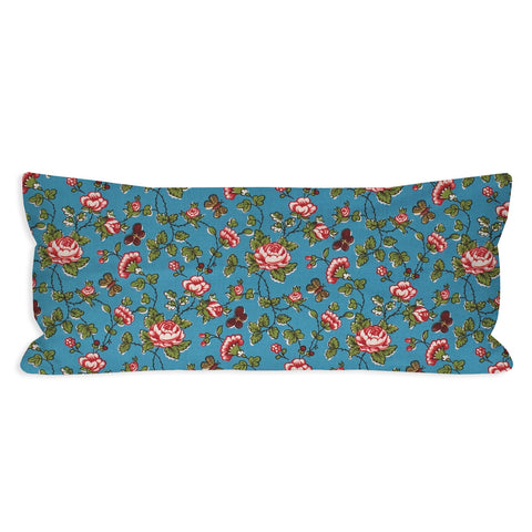 Quirky Traditional Blue Floral Lumbar Pillow