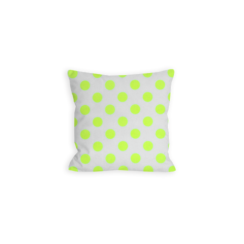 Brilliant Polka Dot White and Neon Yellow Pillow - LIL