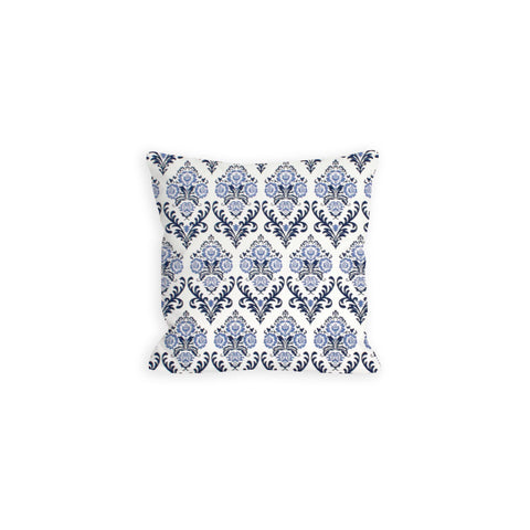 Fanciful Damask Light Indigo and Navy Pillow - LIL