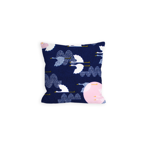 Serene Cranes Navy and White Pillow - LIL