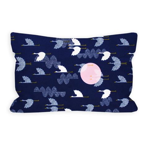 Serene Cranes Navy and White Toddler Pillow
