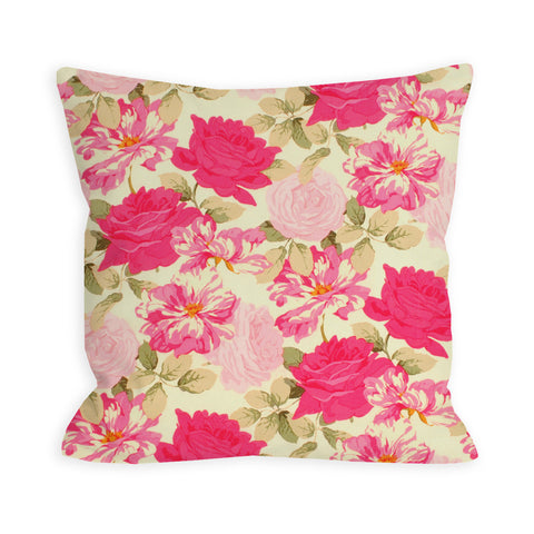 Neon Saturated Rose Jungle Pillow