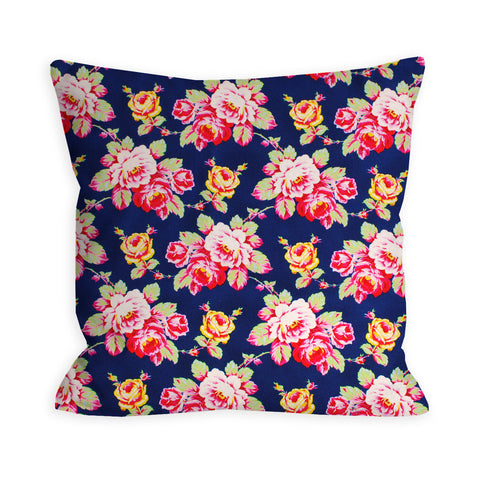 Neons and Navy Floral Pillow