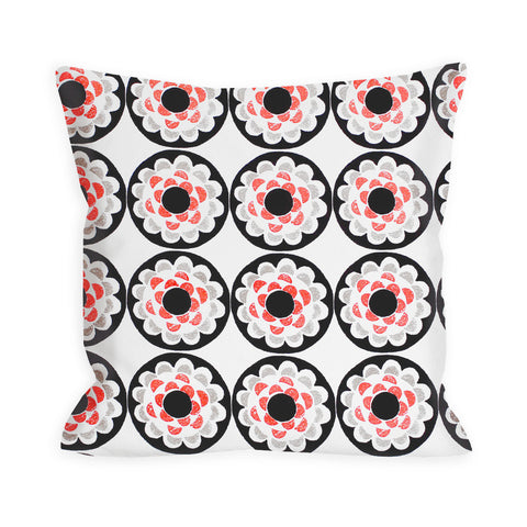 Dusty Brown and Ivory Abstract Floral Pillow