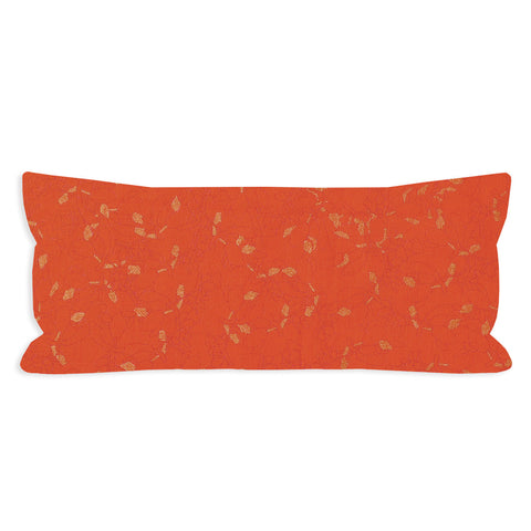 Japanese Botanicals Orange and Gold Lumbar Pillow