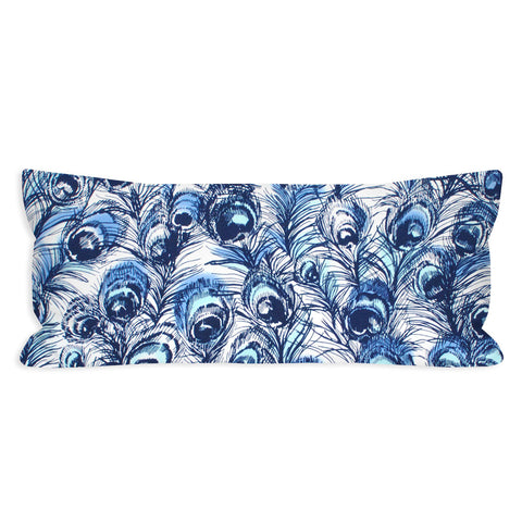 Pretty as a Navy Peacock Lumbar Pillow
