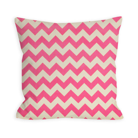 Bubble Gum Pink and Ivory Chevron Pillow