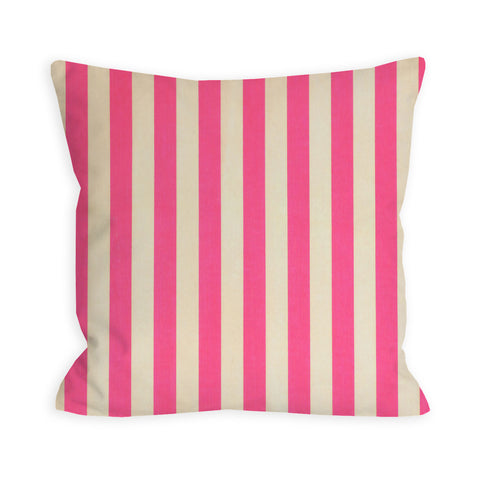 Bubble Gum Pink and Ivory Striped Pillow
