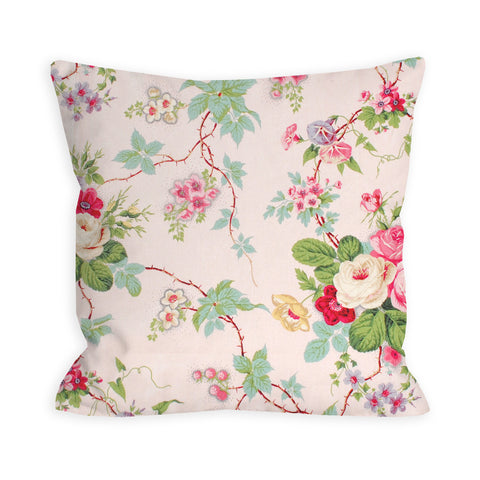 Amelie Vintage Rose Garden Light Pink Pillow