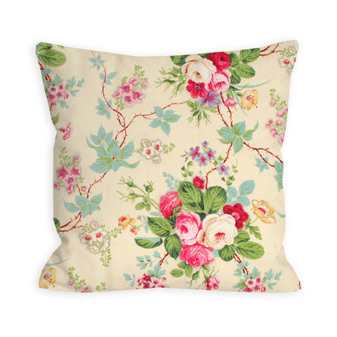 Amelie Vintage Rose Garden Light Yellow Pillow