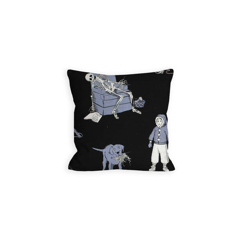 Teenie Weenie Halloweenie Ball of Yarn Black and Grey Pillow - LIL