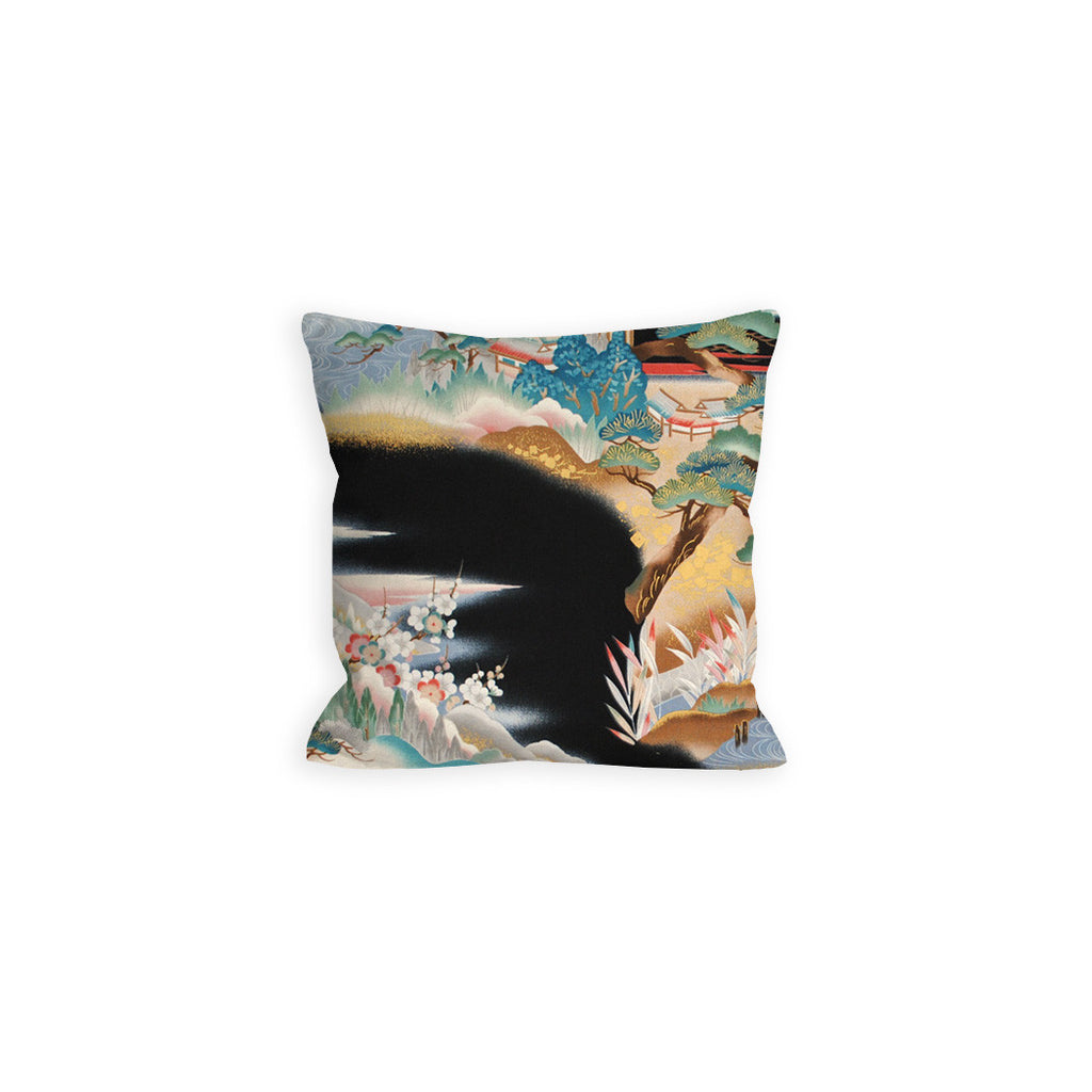 Glamorous Black and Gold Asian Scenery Pillow - LIL