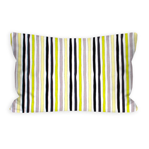 Thor's Wavy Lime, Grey, Black and Citron Striped Toddler Pillow
