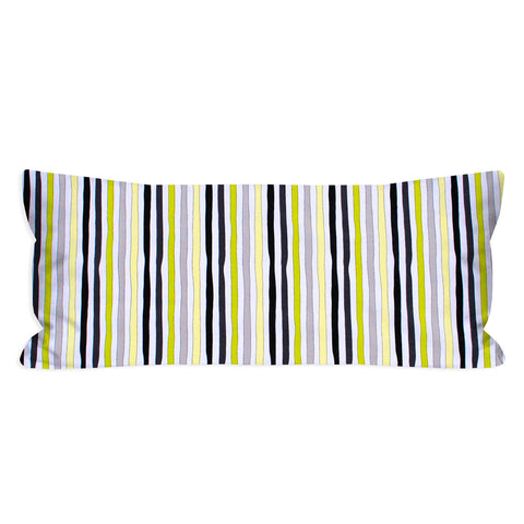 Thor's Wavy Lime, Grey, Black and Citron Striped Lumbar Pillow