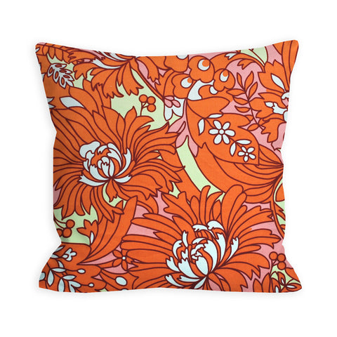 Orange Floral Creamsicle Pillow