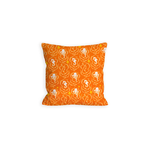 Orange Octopus and Seahorse Creamsicle Pillow - LIL