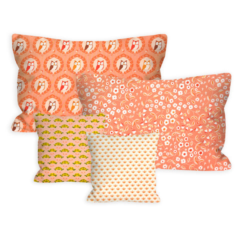 Woodland Foxtrot Apricot and Peach Nursery + Toddler Pillow Set