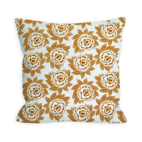 Primitive Indie Floral Sienna Brown Pillow