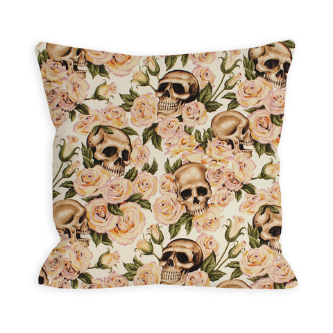 Skulls and Roses Ivory Pillow
