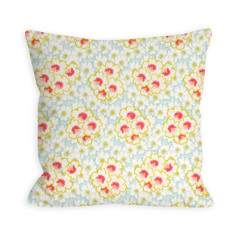 Rose and Sky Watercolor Floral Pillow