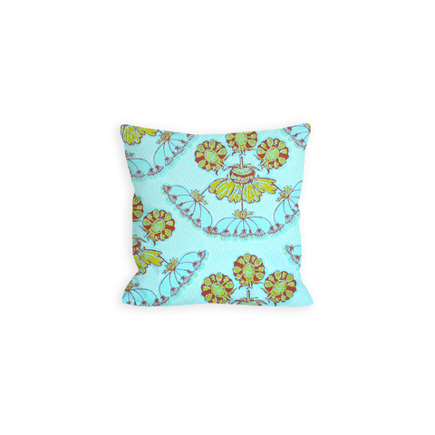 Cool Whimsy Floral Sky Blue Pillow - LIL
