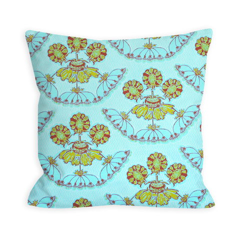 Cool Whimsy Floral Sky Blue Pillow