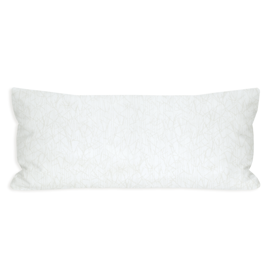 Snowy Japanese Branches Tonal and Eggshell White Lumbar Pillow