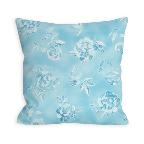 Tonal Sky Blue Floral Pillow