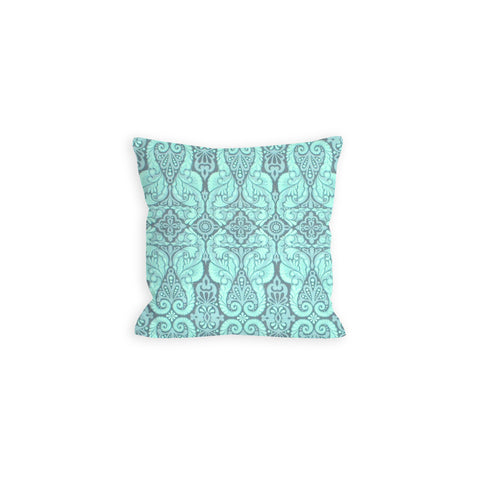 Sprightly Damask Aquamarine and Grey Pillow - LIL