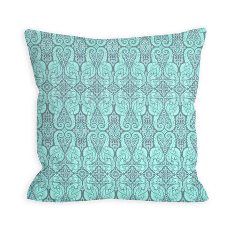 Sprightly Damask Aquamarine and Grey Pillow
