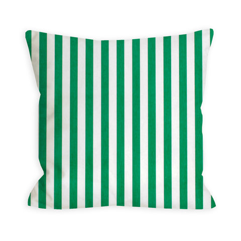 True Green and White Stripe Pillow