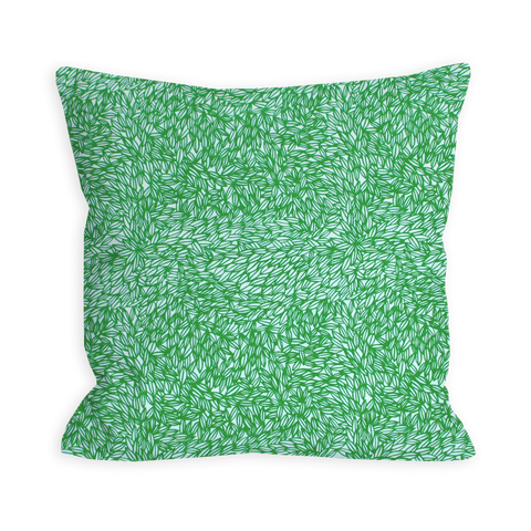 Comforting Leaves White and True Green Pillow