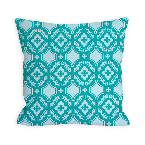 Springing Geometric Teal and Light Blue Pillow