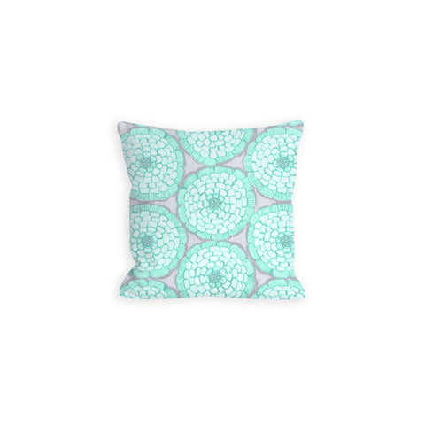 Aquamarine and Grey Pillow, Peppy Floral - LIL