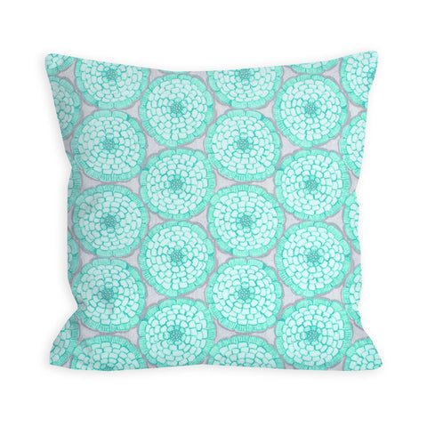 Aquamarine and Grey Pillow Peppy Floral