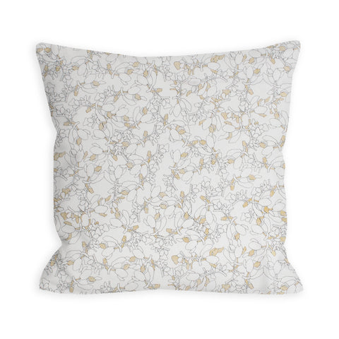 Japanese Botanicals White and Gold Pillow