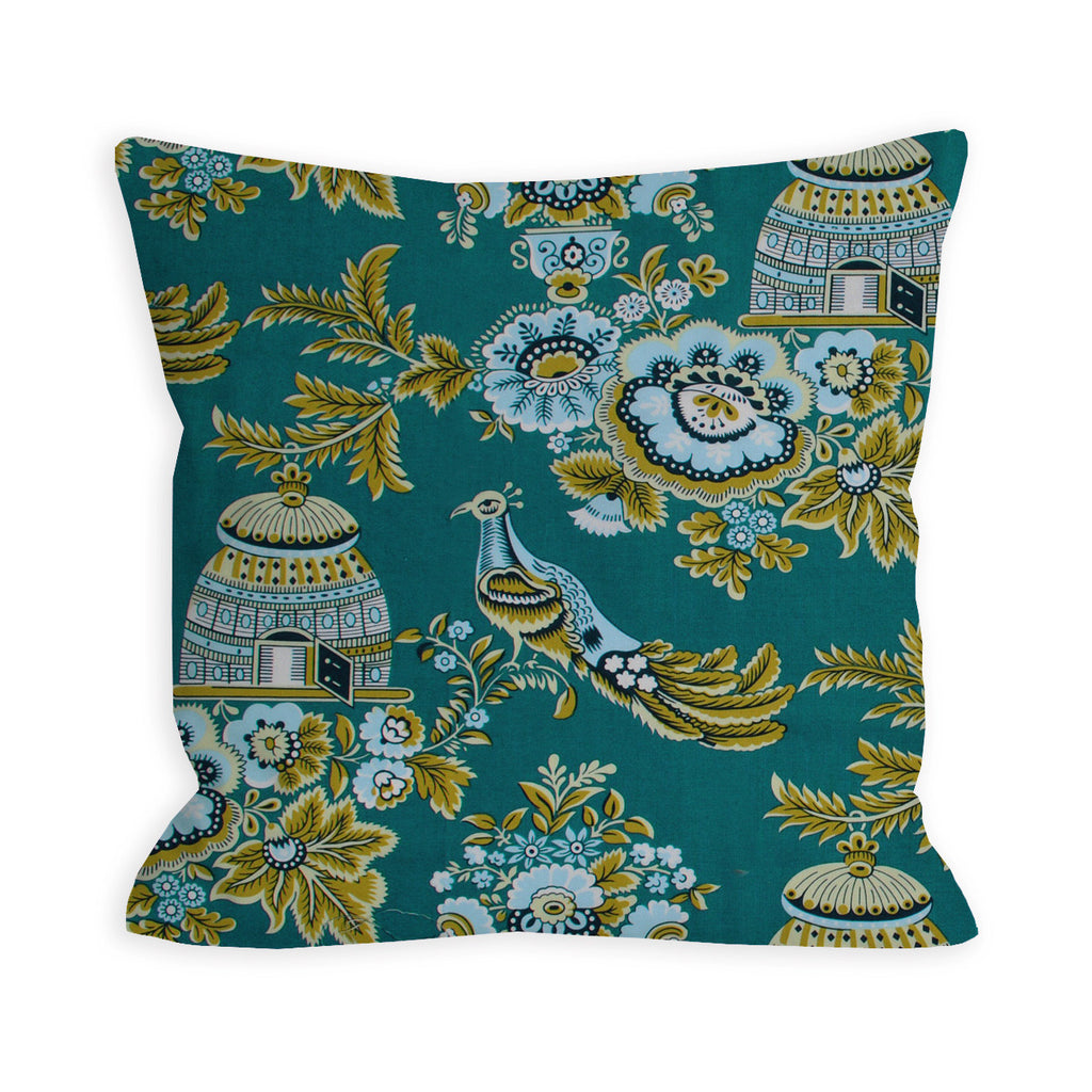 Perching Peacock Teal Pillow