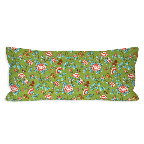 Quirky Traditional Green Floral Lumbar Pillow
