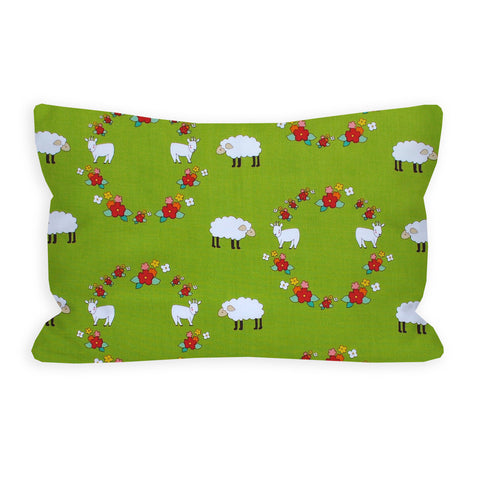 Little Lamb and Goat Green Toddler Pillow