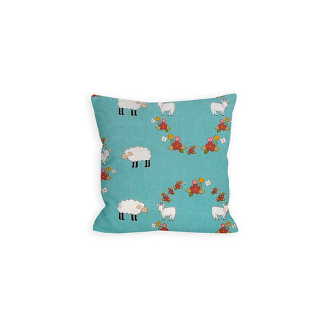 Little Lamb and Goat Blue Pillow - LIL