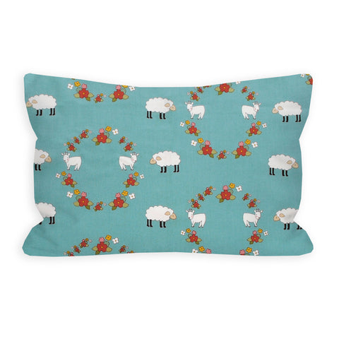 Little Lamb and Goat Blue Toddler Pillow