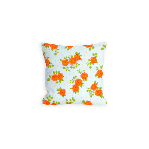White and Orange Flower Power Pillow - LIL